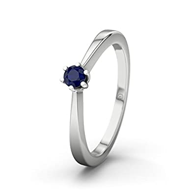 21DIAMONDS Women's Ring Madagascar Blue Sapphire Diamond Engagement Ring - Silver Engagement Ring