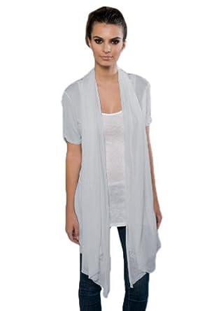 Blanks Women's Fine Jersey Drape Front Cardigan, Small Blue Fog