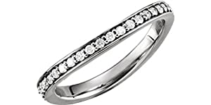Diamond Stackable Curved Eternity Band, 14k White Gold, Size 8.5