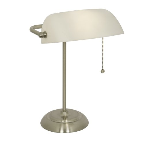 Banker's Lamp with White Shade (Brushed Steel Finish)