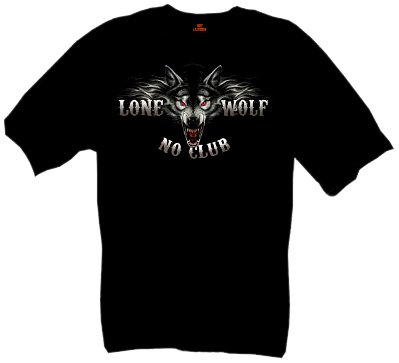 Hot Leathers Lone Wolf Double Sided Biker Shirt (Black, XXX-Large)