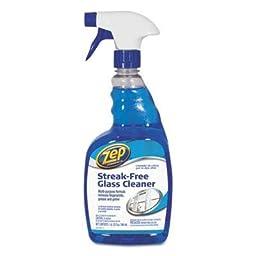 Zep Commercial - 6 Pack - Streak-Free Glass Cleaner Pleasant Scent 32 Oz Spray Bottle \