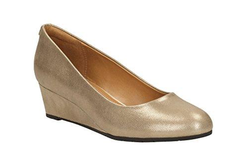 Clarks Habillé Femme Vendra Bloom Cuir Chaussures De Beige
