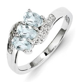 Genuine IceCarats Designer Jewelry Gift Sterling Silver Rhodium Aqua & Diamond Ring Size 7.00