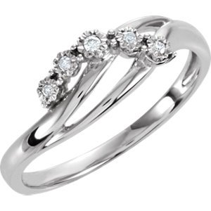 Genuine IceCarats Designer Jewelry Gift Sterling Silver .03Ctw 5 Stone Dia Promise Rin. .03Ctw 5 Stone Dia Promise Rin In Sterling Silver Size 7