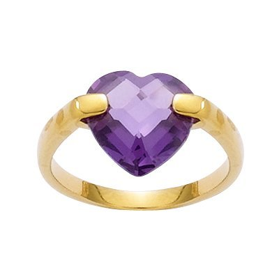 18K Gold Plated Violet Cubic Zirconia Facet Heart Band Ring - Size 10.5