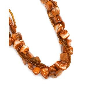 Orange Shell Nugget and Seed Bead Multistrand Layered Necklace Four Strands - Made in the USA