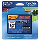 BROTHER BRT-TZE1312PK BROTHER ECO BLACK ON - CLEAR 12 (2 PACK) - TZE1312PK