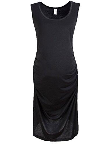Women Summer Pregnant Sleeveless Loose Dress Maternity Cotton Dresses (Xl, Black)
