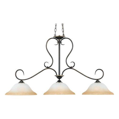 B000V27I1Q Quoizel DH348PN Duchess 27-Inch Island Chandelier with 3 Lights with CHAMPAGNE MARBLE GLASS, Palladian Bronze Finish