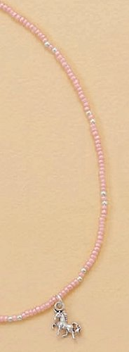 Sterling Silver Necklace, 13 + 2 inch Ext long, 1.5mm Seed Bead, Child-size, 5/8 inch Unicorn