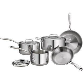 Tramontina Gourmet 8-Piece 18/10 Stainless Steel Tri-Ply Clad Cookware Set (Stainless Steel Cookware 8 Inch compare prices)