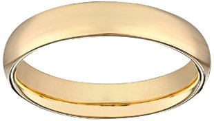 Women's 14k Yellow Gold 4mm Comfort Fit Plain Wedding Band, Size 7.5