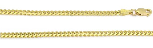 14K Yellow Gold Solid Cuban Link Chain Lobster Clasp Necklace 2Mm 18 Inches