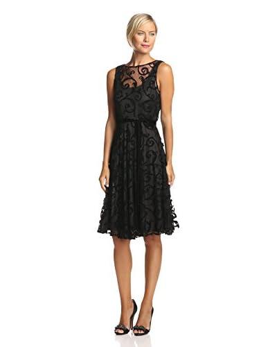 Isaac Mizrahi Women's Sleeveless Floral Lace with Velvet Belt Dress