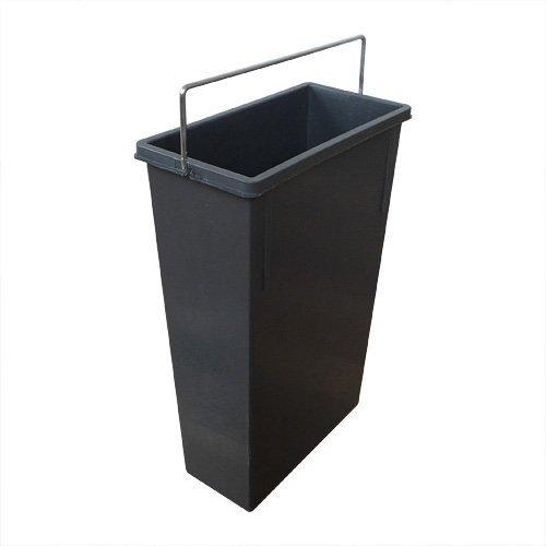 1082479 Inneneimer mit Henkel verchromt Abfallsammler, Plastik, dunkelgrau, 7 L, Kunststoff, 22,6 x 11,5 x 34 cm
