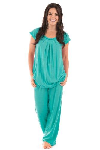 Bamboo Jersey Pajamas Clothing Romantic Pajamas Sleepwear Wb0001-Trq-Xl front-324401