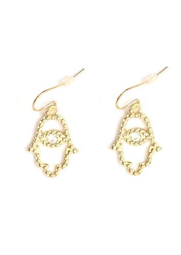 Crystal Hamsa Drop Earrings Gold Tone Evil Eye Hand of Miriam Judaica Nazar Amulet Dangle Fashion Jewelry