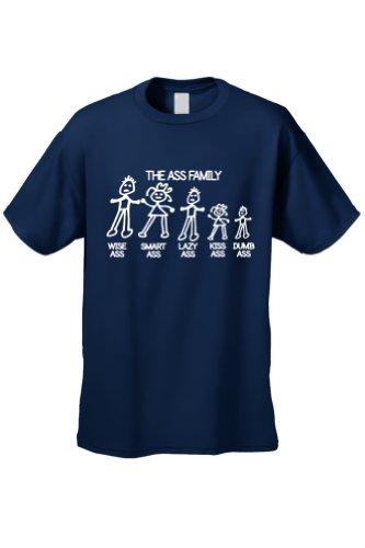 Men's/Unisex Funny Meet The Ass Family! NAVY Short Sleeve T-shirt (XXL) (Wise Ass)