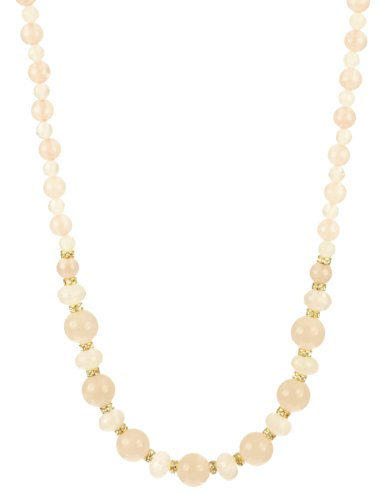 Rose Quartz Faceted Round Bead and Rondelle and Round Bead with Cubic Zirconia Rondelles and Gold Plated Sterling Silver Clasp Necklace, 18