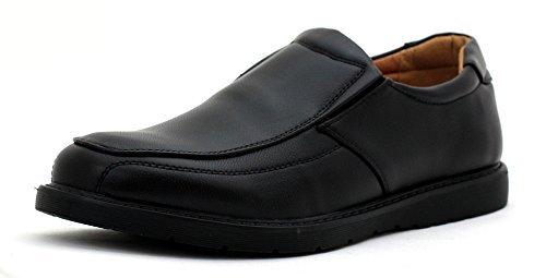 Negro-De-Hombre-Zapatos-De-Diario-Zapatos-Sin-Cordn-Escuela-Oficina-Trabajo-Inteligentes-Talla-UK
