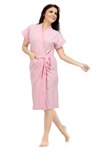Sweet Night Womens Cotton Pink Bath Gown with Robe