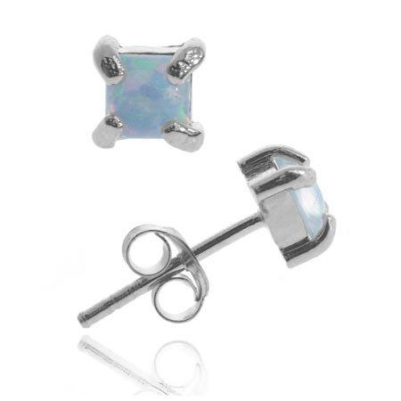 Sterling Silver 4mm Square Created Fiery Blue Opal Stud Earrings