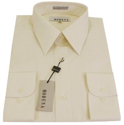 Dress Shirts: Mens Modena Solid Cream Barrel Cuff Dress Shirt - Size ...