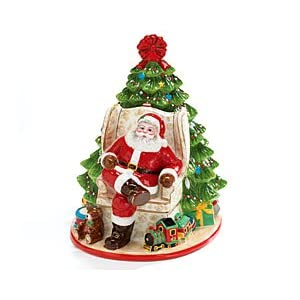 Santa Clause With Christmas Tree And Toys Cookie Jar For the Holidays!