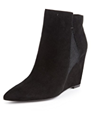 Autograph Suede Water Resistant Pointed Toe Wedge Boots with Insolia®