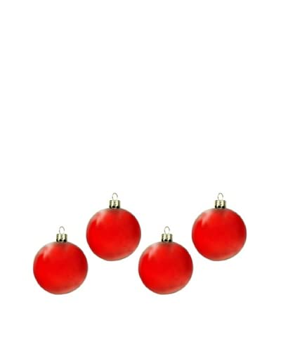 Artisan Glass by Seasons Designs Set of 4 Solid Glass Ornaments, Red As You See