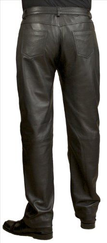 Mens Black Leather Jeans/Trousers (Waist 38