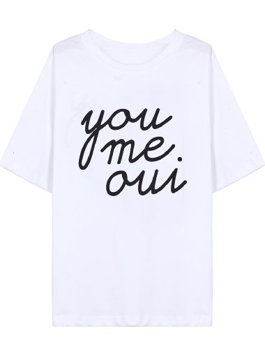 Sheinside Black/White Short Sleeve you me oui Print T-Shirt (One Size, White)