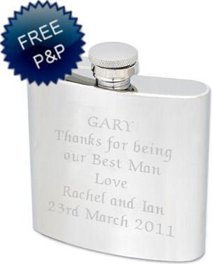 Personalised top Quality Polished 5oz Hip Flask Complete with Gift Box And Gift CardBest Man Usher Engraved Free
