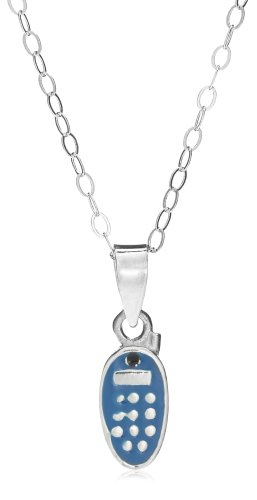 Jo For Girls Silver Blue Enamel Cp48 Mobile Phone Pendant on 35.5cm Chain