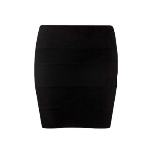 Karma New Ladies Bandage Bodycon Stretch Womens Skirt 8-14 Black - 8 - Black
