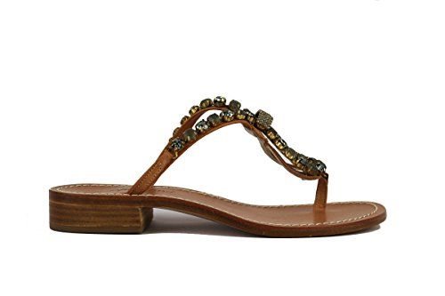GIALLO POSITANO sandali donna pelle stass (35 EU, Beige/grigio)