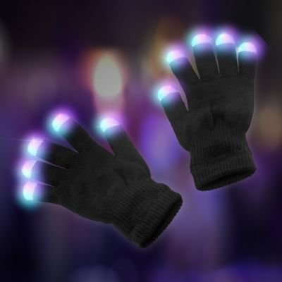 LED Light Up Lighting Colorful Rave Gloves 7 Colors Light Show (1 Pair) - 1
