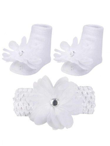 Baby Girls White Flower Headwrap With Stone And Sock Gift Set By Vitamins Baby - White - 0-12 Mths back-1058066