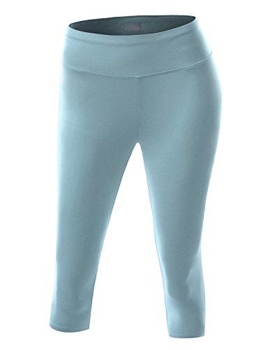 NINEXIS Women's Active Workout Athletic Running Yoga Capri Leggings BABYBLUE M (Light Blue Leggings compare prices)