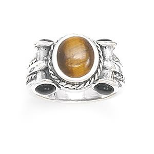 Sterling Silver Oval Tiger's Eye with Black Onyx Ring / Size 8