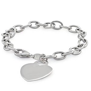 "14k White Gold Bracelet with Heart Charm (7"")"