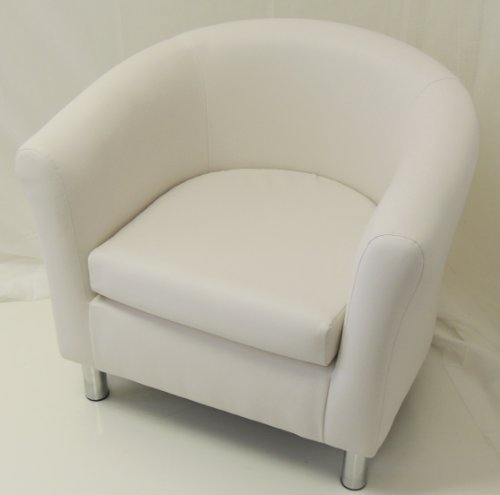 WHITE FAUX LEATHER TUB CHAIR CHROME LEGS