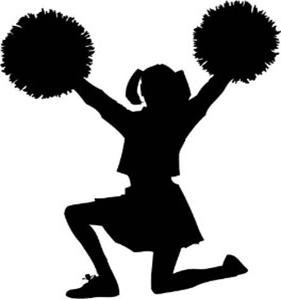 Novelty Cheerleader Silhouette 12 Edible Stand up wafer paper cake