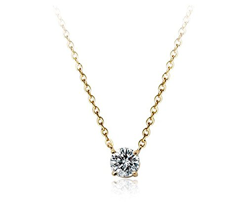 Aaa Cubic Zirconia Crystal Ornate Round 6Mmx6Mm Zirconia Solitaire Pendant Necklace Fashion Jewelry For Women (Gold Plated)