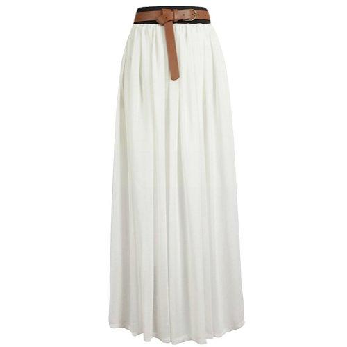 Tobey Vintage Women'S Pleated Long Chiffon Waist Maxi Boho Beach Skirt Dress (White)