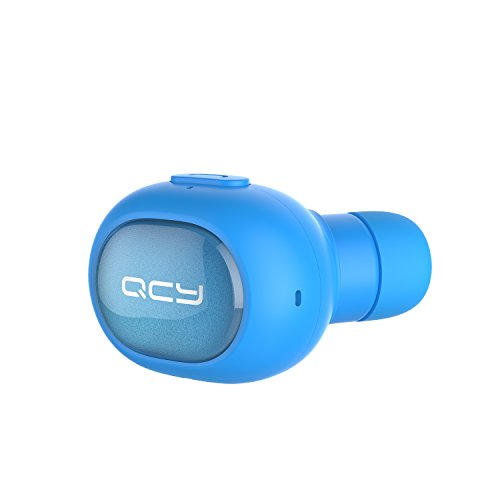[Mini Bluetooth Earbud] QCY Q26 Wireless Invisible headphones With Mic, Hands-free Stereo noise canceling for Apple iPhone7 iPhone 6, 6 Plus, 5S, 5c, 5, 4S, 4 and Android Smart Phones - Blue