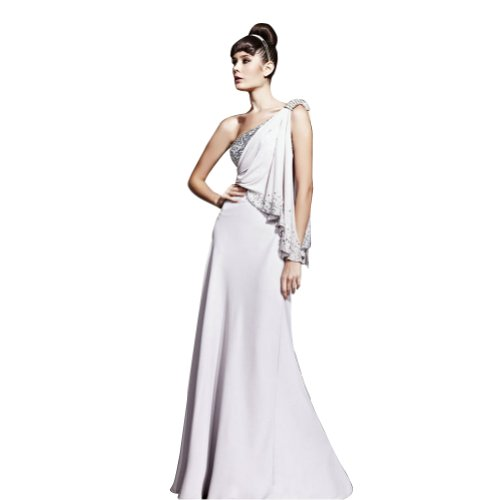 GEORGE BRIDE Sheath/ Column One Shoulder Floor-Length Chiffon Evening Dress With Beaded Appliques
