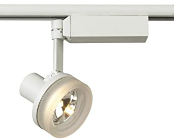 Lightolier White With Glass Ring MR 16 Track Head Track Lighting Heads Am