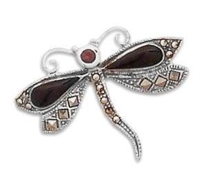 Black Onyx, Garnet and Marcasite Dragonfly Pin